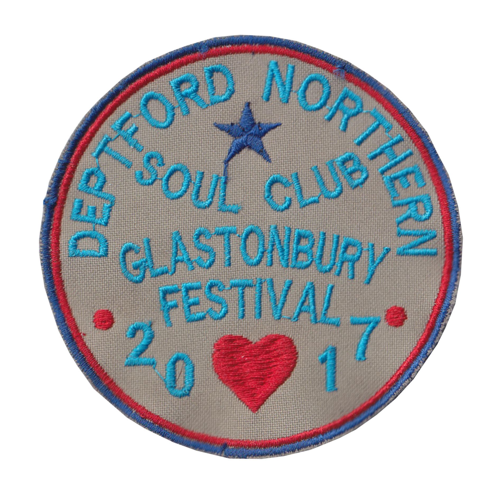 Northern Soul Girl Circle Pink And White Embroidered Patch