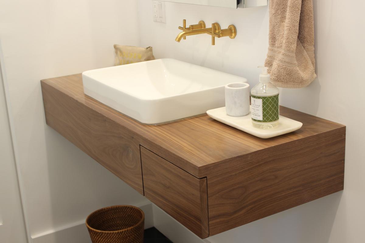 Floating Bathroom Vanity With Drawer In Walnut Treeline Made In Los Angeles