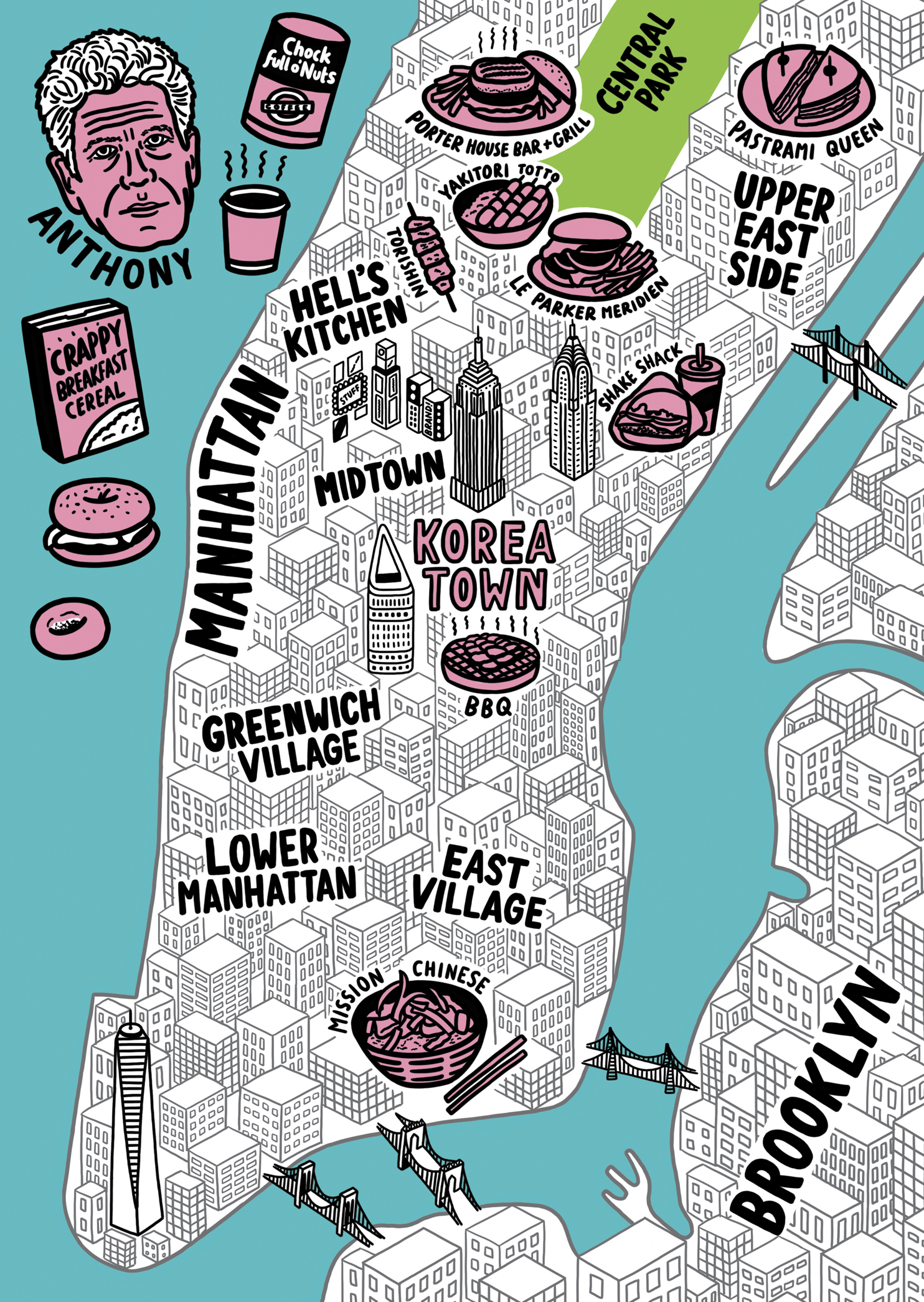 Map Of New York City For Tourists.Anthony Bourdain For Variety Magazine Jenni Sparks
