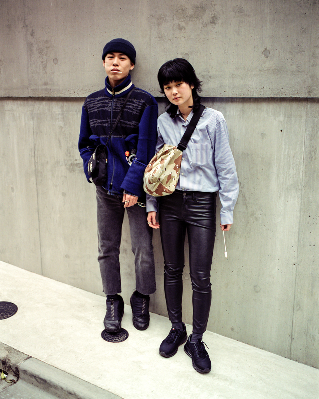 A duo of Japanese models in the streets of Harajuku