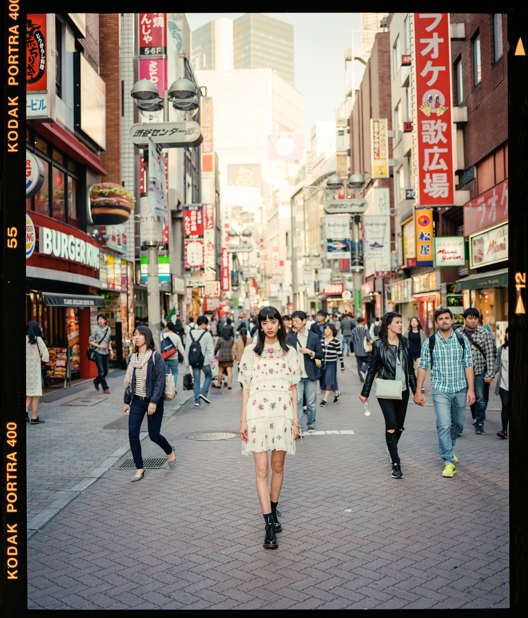 Akira with a vintage floral dress in Shibuya