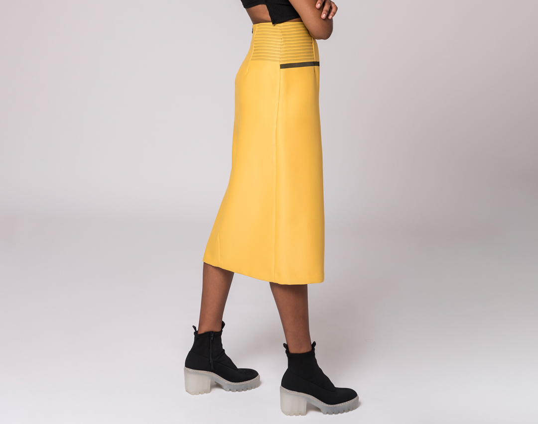 side view of a yellow wrap skirt