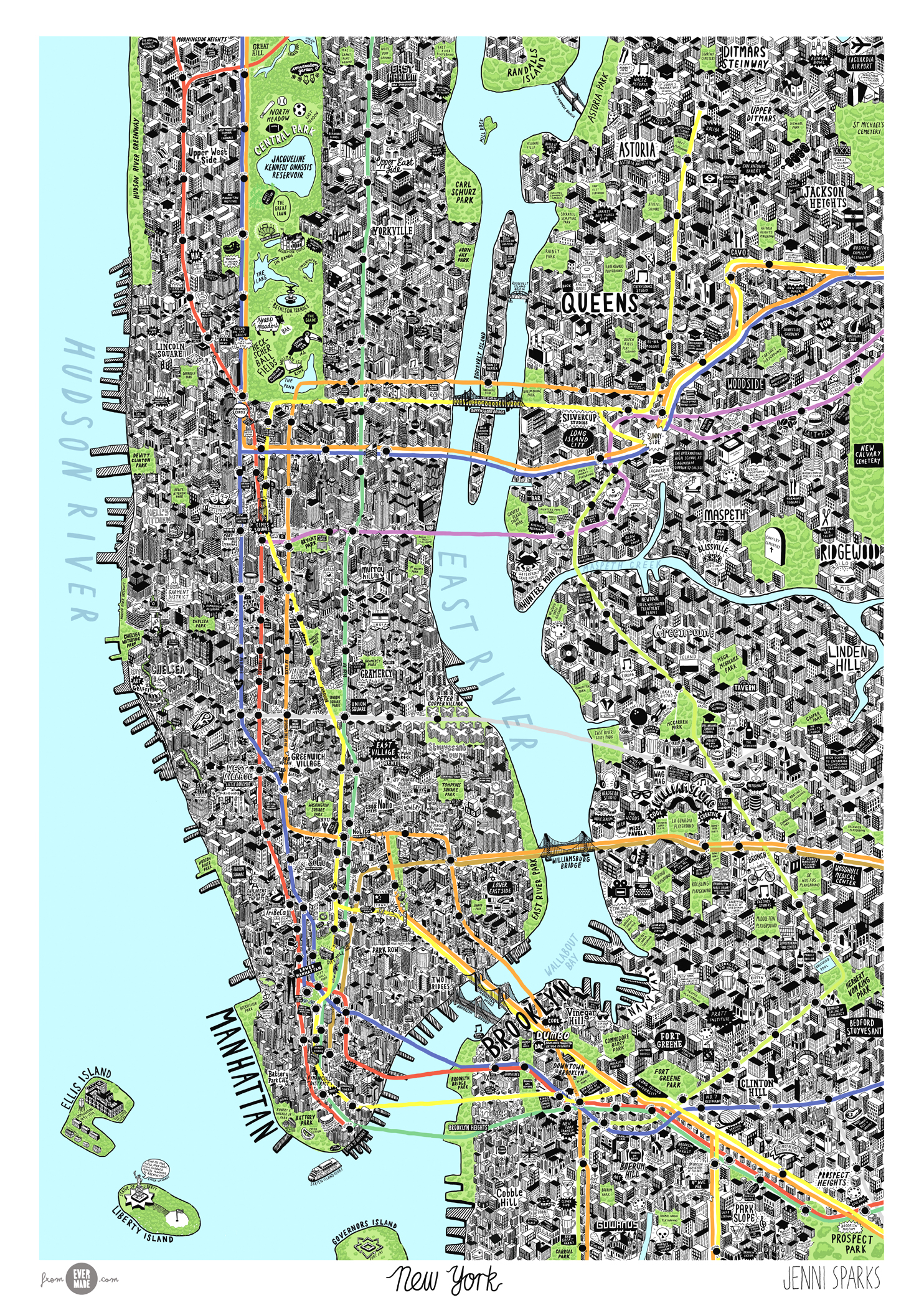 Picture Of New York Map.Hand Drawn Map Of New York Jenni Sparks