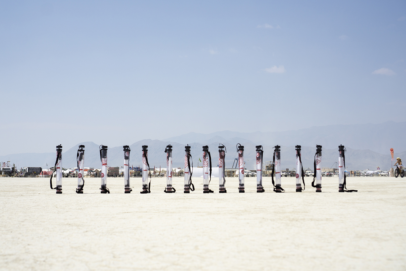a row of poster tubes, also known as vessels, in the desert