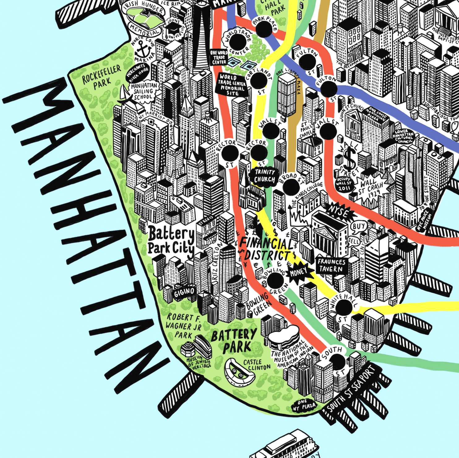 Areas Of New York Map.Hand Drawn Map Of New York Jenni Sparks