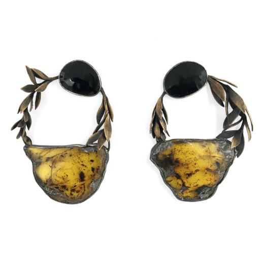Kahruba earrings with amber, black spinel, fine silver bronze and cast sedum sarmentosum by Anna Johnson