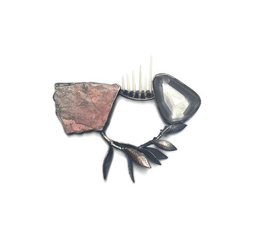 ebendorf brooch, cadillacite, moon quartz and porcupine quills by Anna Johnson