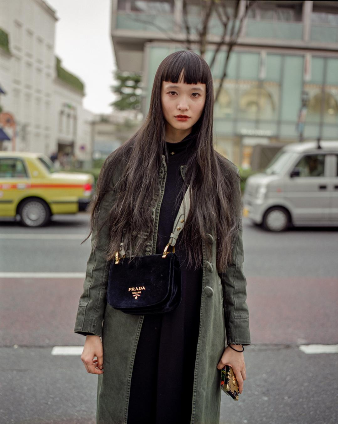 Yuka Manami, a Japanese model with a vintage Prada bag in Omotesando