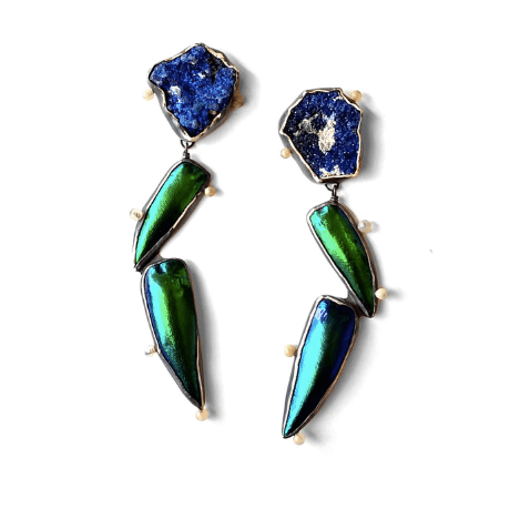 azure elytra earrings with azurite and jewele beetle wings by Anna Johnson