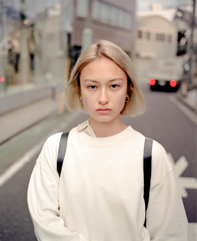 Ayumi, a Japanese model, in Omotesando