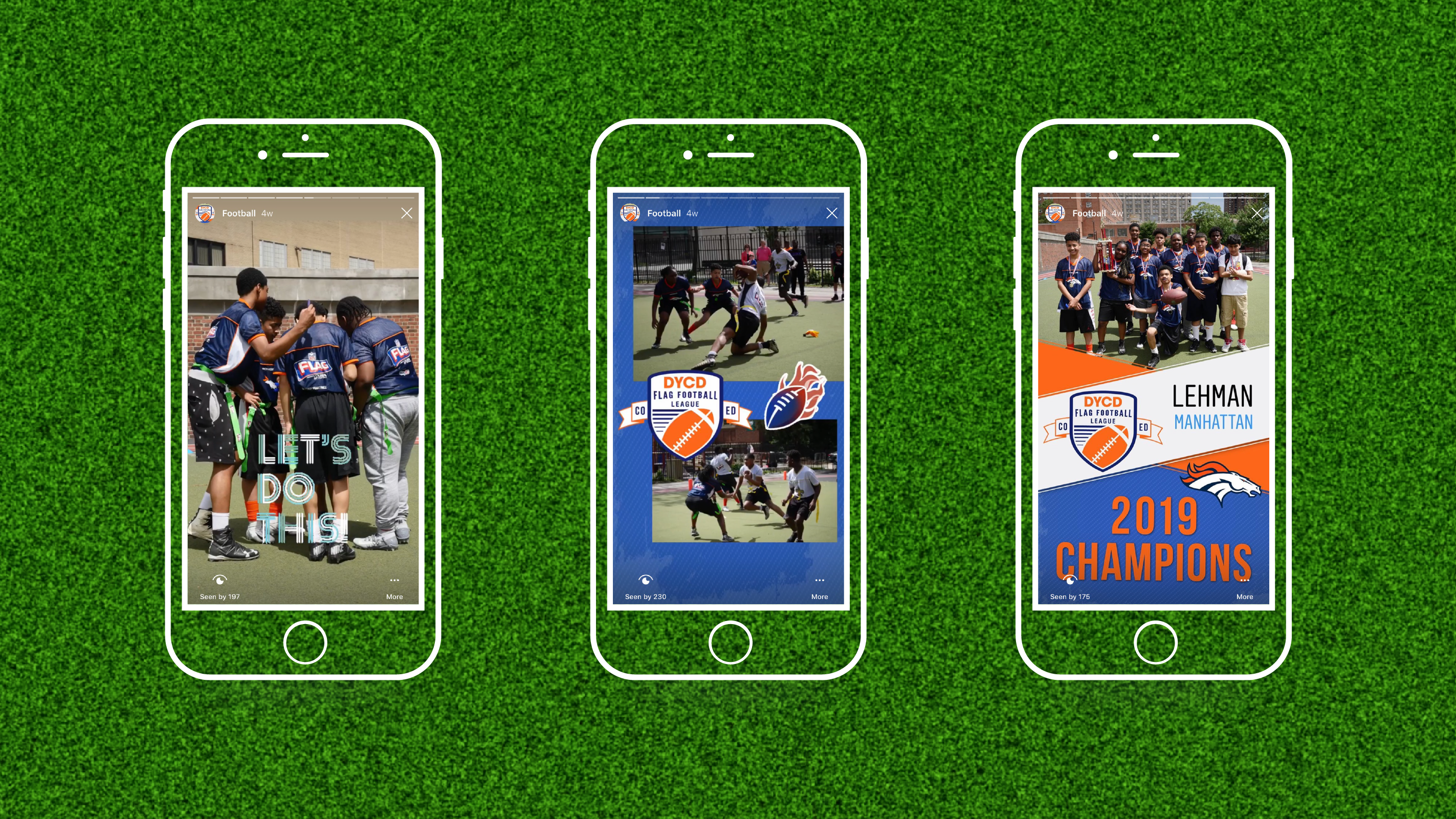 Three mobile screenshots of the Instagram stories from the DYCD Flag Football League Championship game as appeared on the @nycyouth Instagram account.