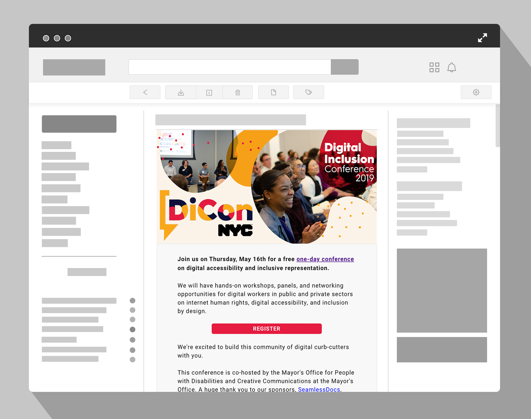 DiCon NYC Digital Inclusion Conference email invite mockup.