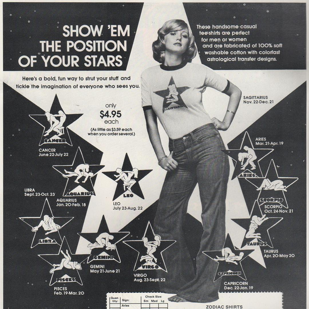 Original Vintage 70s Aquarius Iron On Transfer Jan 20-Feb18 Horoscope