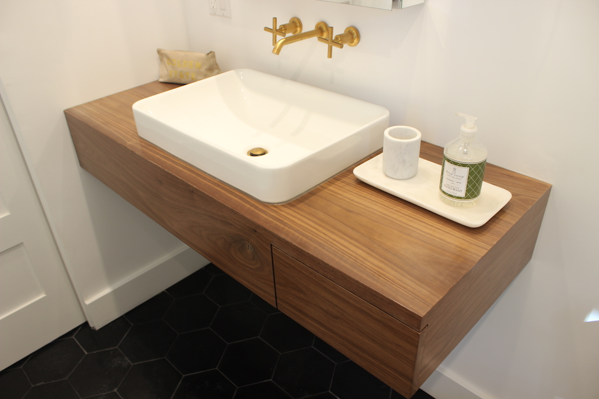 Picture of: Floating Bathroom Vanity With Drawer In Walnut Treeline Made In Los Angeles