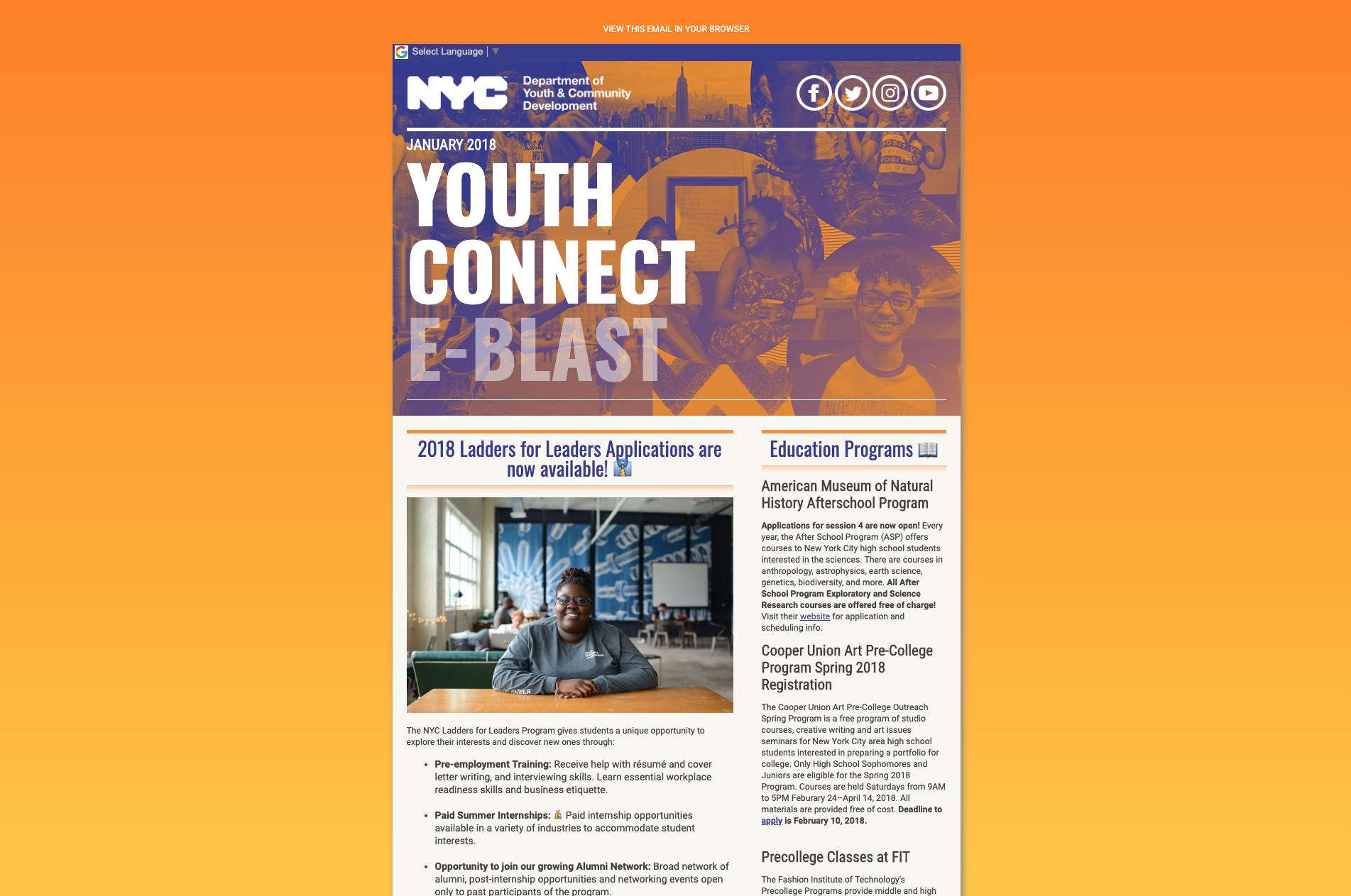 Screenshot of the DYCD Youth Connect email newsletter coded and designed to appeal New York City youth.