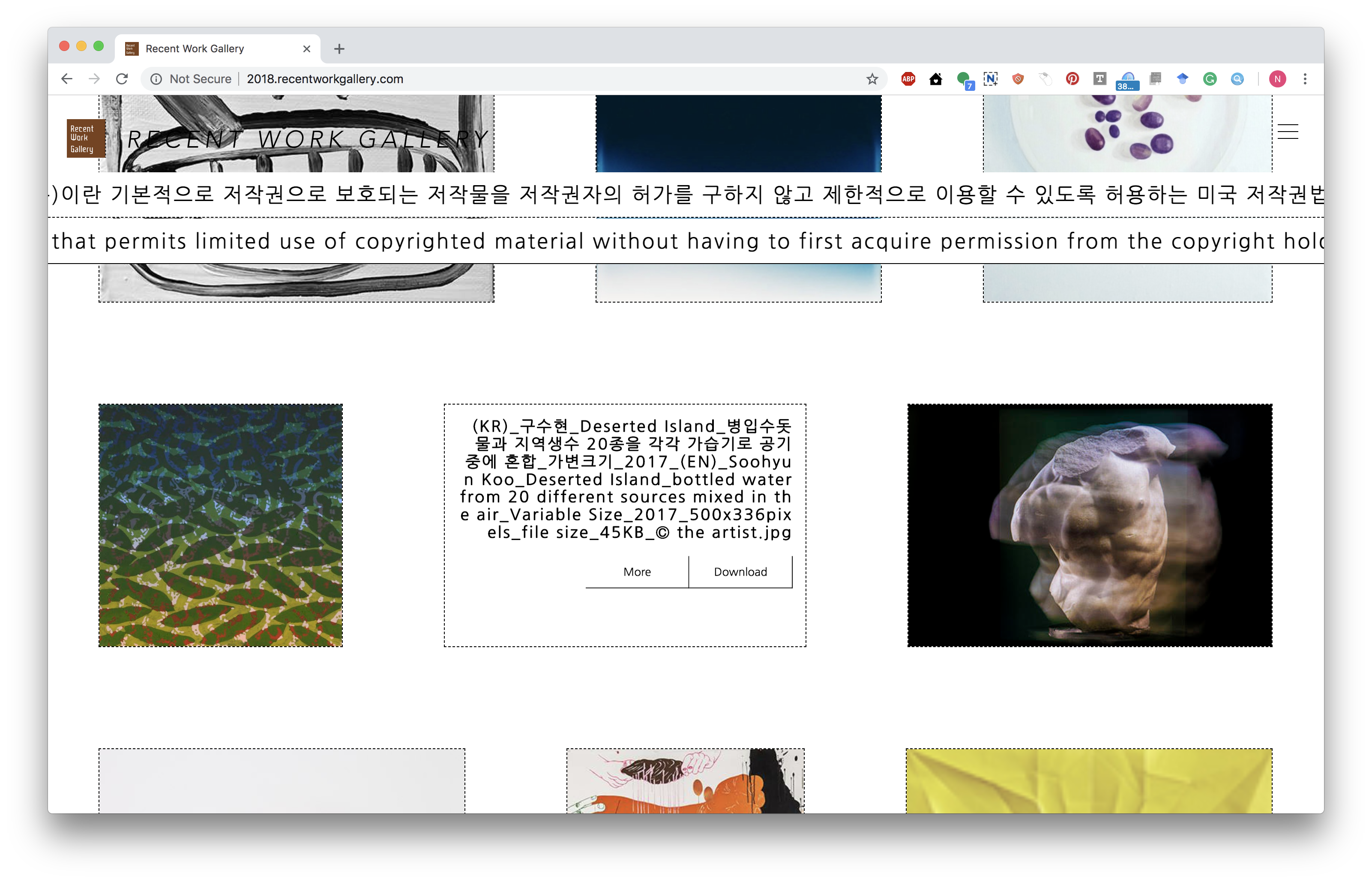 i designed and developed this web page for recent work gallery 2018 project using react js for frontend and node js for backend development
