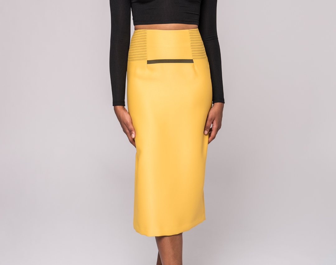 front view of a yellow pencil skirt