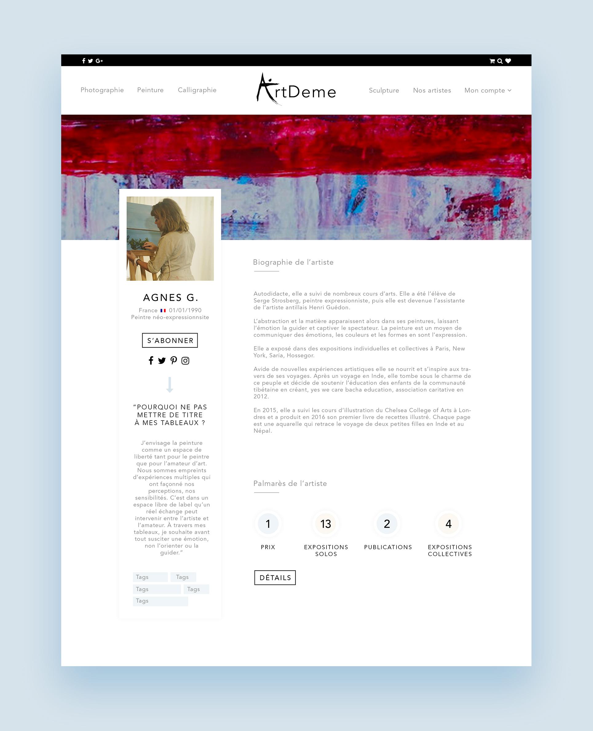 Creation De La Maquette Du Site Cartes Visite ArtDeme Galerie Dart En Ligne
