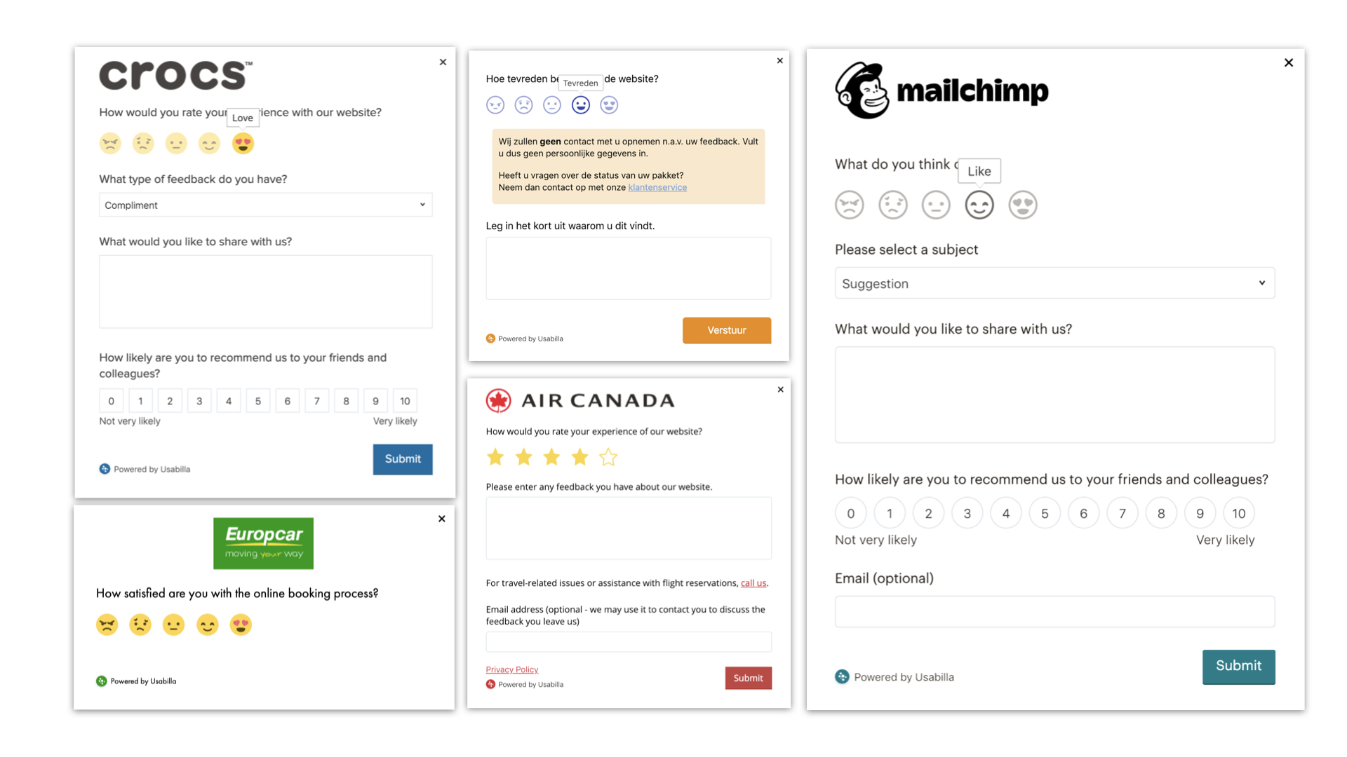 Usabilla's feedback form - Gal Agmon