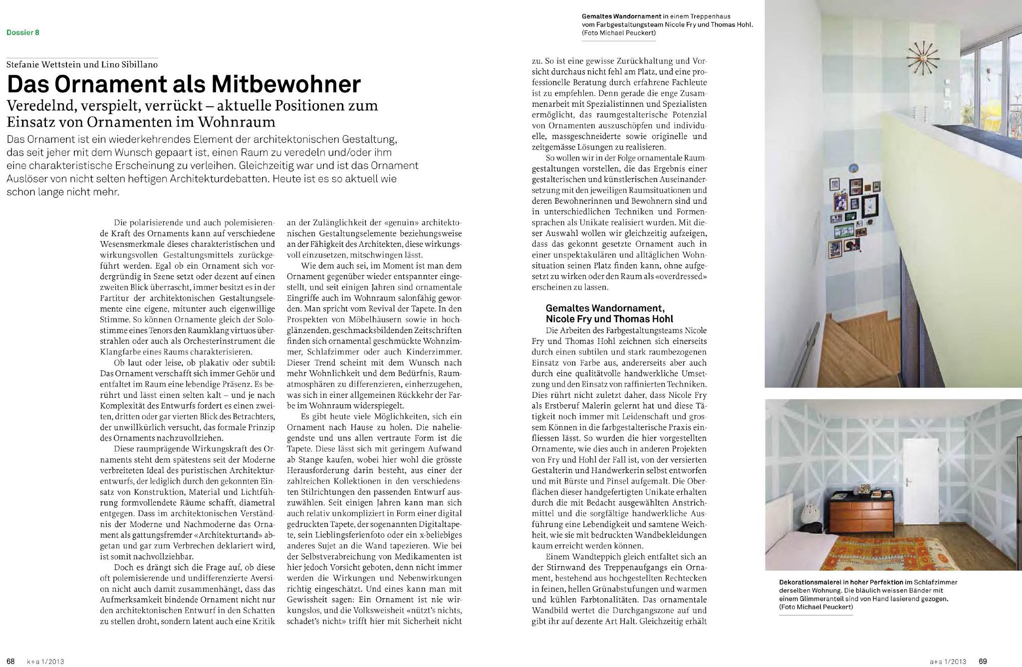 zeitschrift k+a, kunst und architektur in der schweiz, april 2013