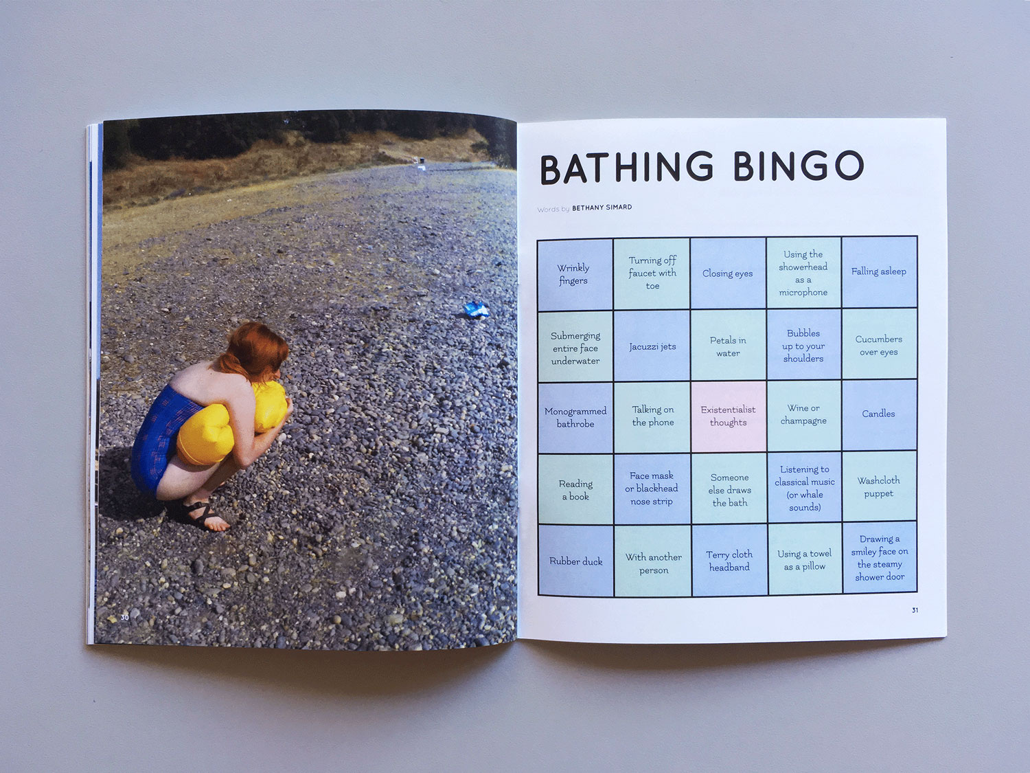 Interior spread of a section called BATHING BINGO: on the right is a woman in a bathing suit, decompressing a flotation device