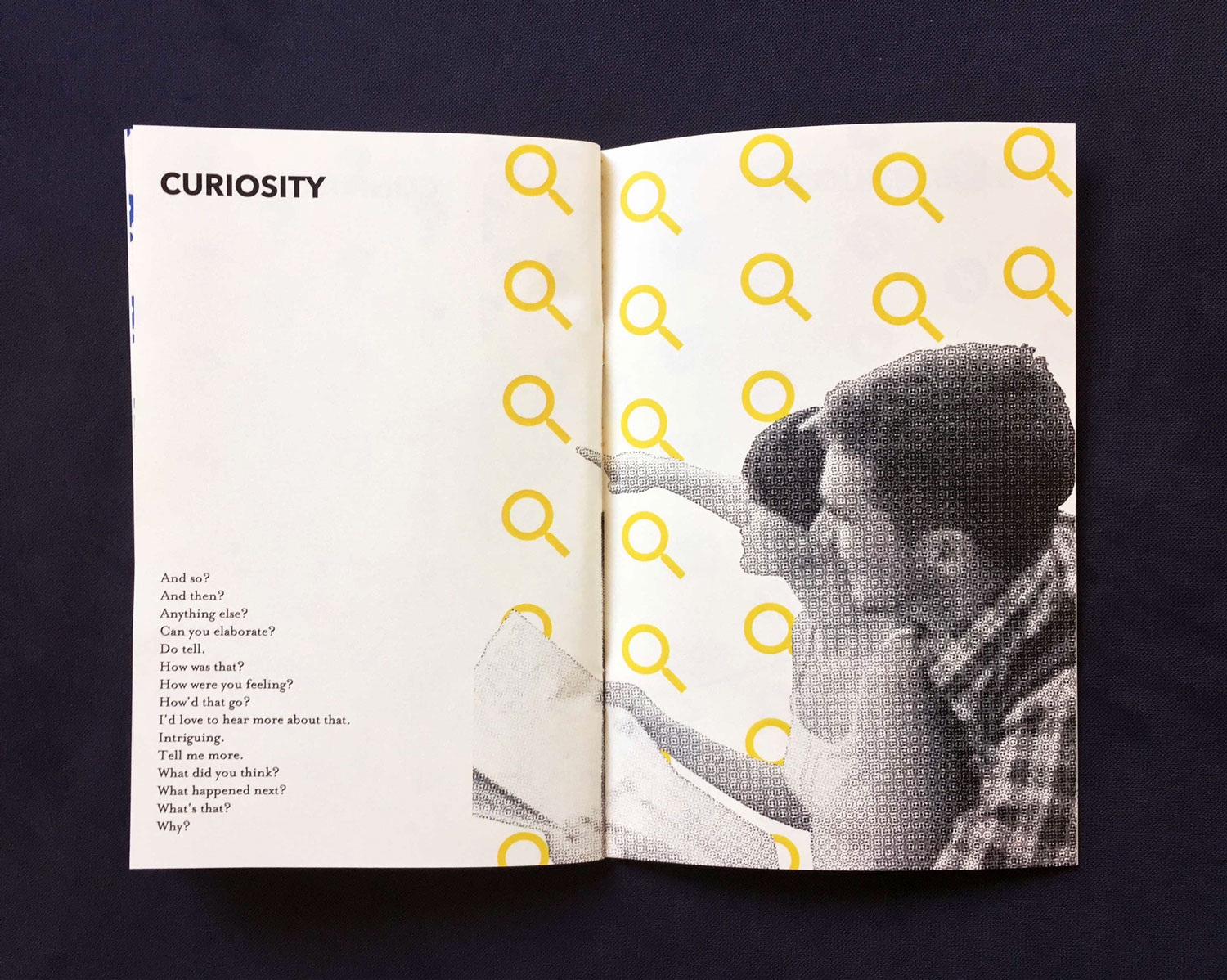 Interior spread of a section titled Curiosity, featuring a man and a woman point off at something in the distance