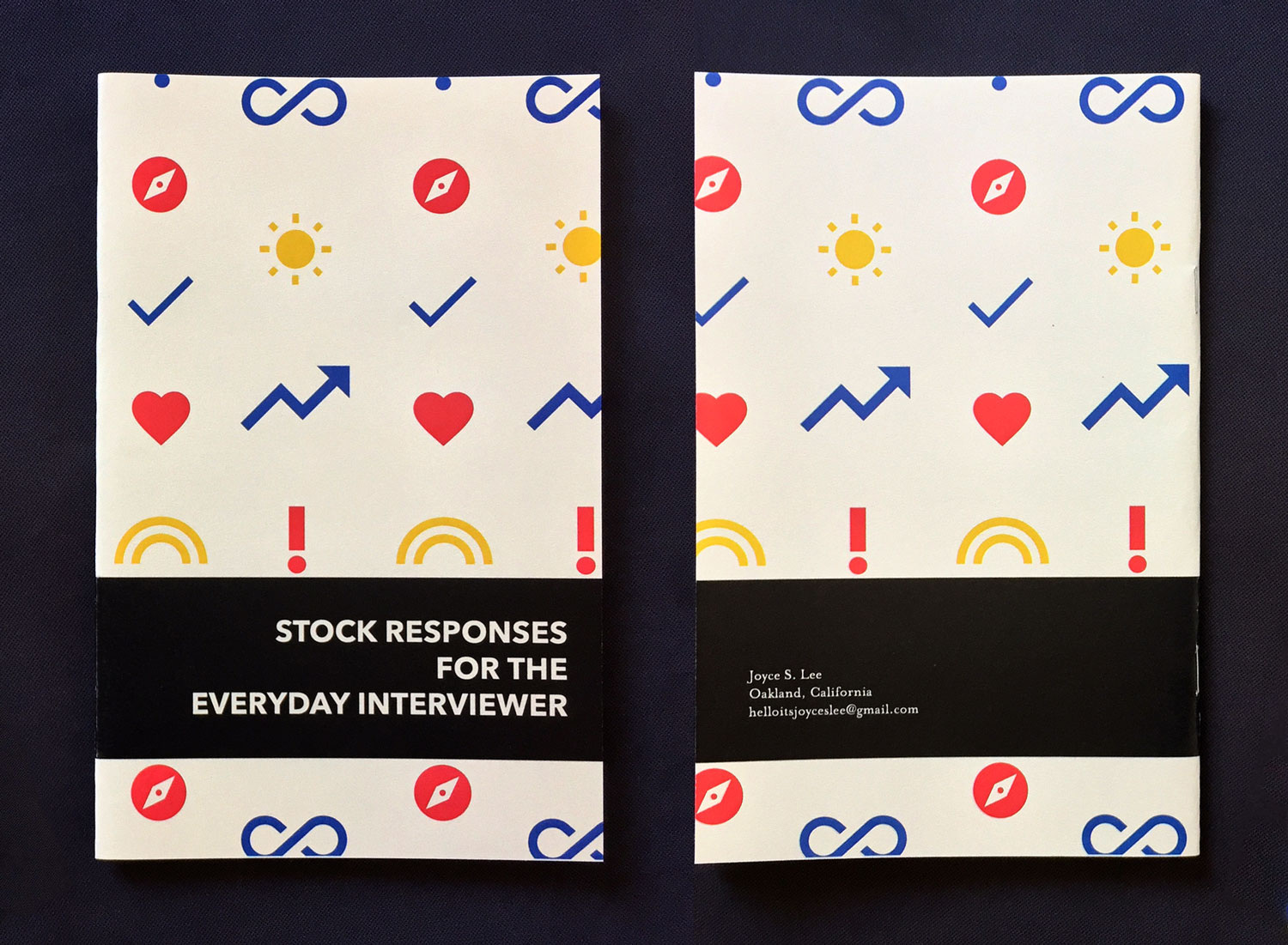 Front and back covers of a zine titled Stock Responses for the Everyday Interviewer