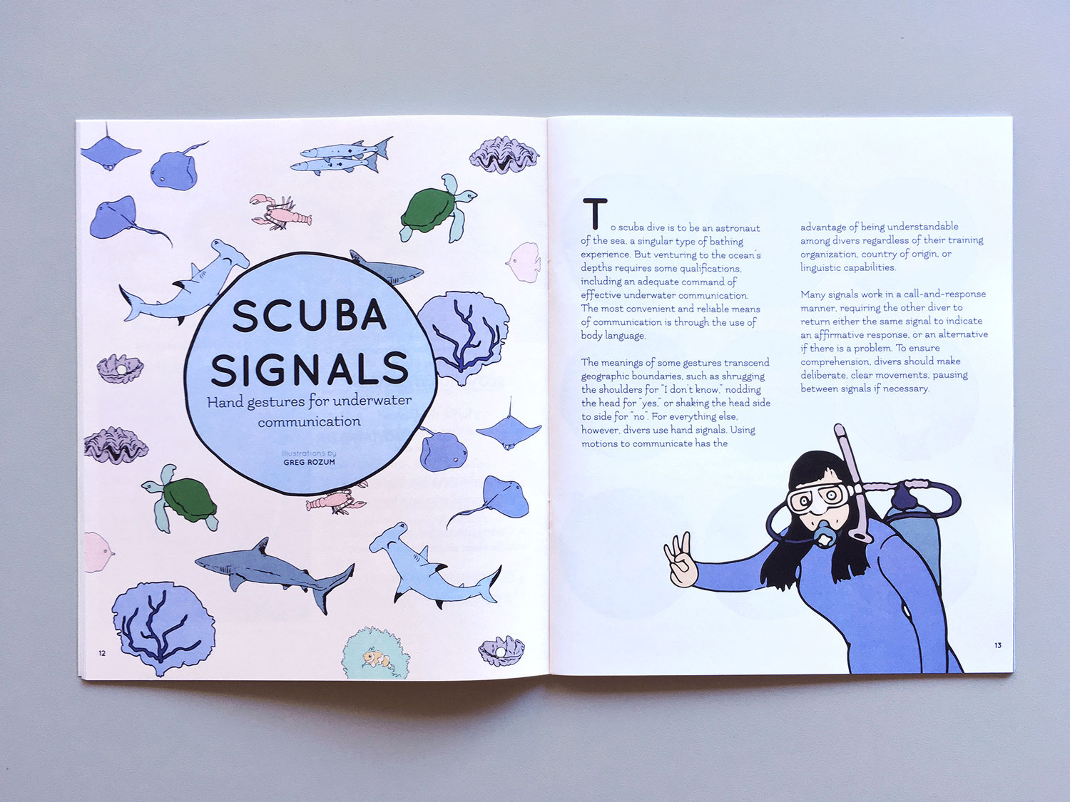 Interior spread of a section called SCUBA SIGNALS: hand gestures for underwater communication. Featured on both pages are illustrations of sea creatures and a scuba diver making the OK hand signal