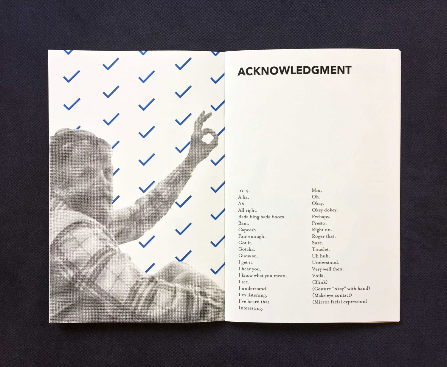 Interior spread of section titled Acknowledgement, featuring a man making an OK sign with his hand