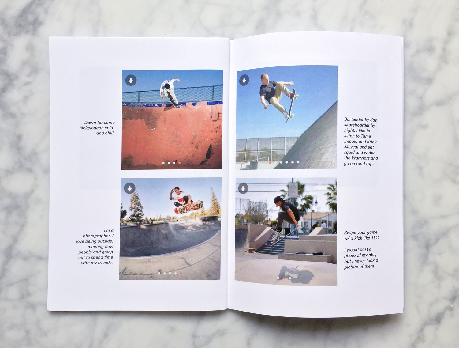 Image link to Defying Gravity zine. Interior spread featuring four Tinder profiles. In each profile is a man on a skateboard, mid-air