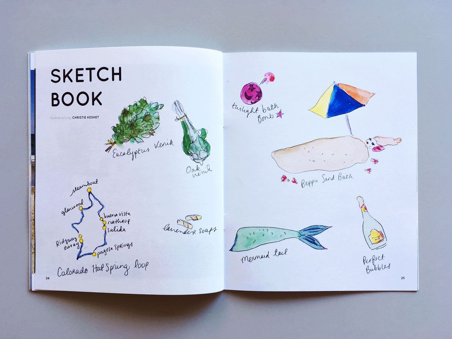 Interior spread of a section called SKETCH BOOK, featuring illustrations of bathing accessories like an oak venik and a mermaid tail