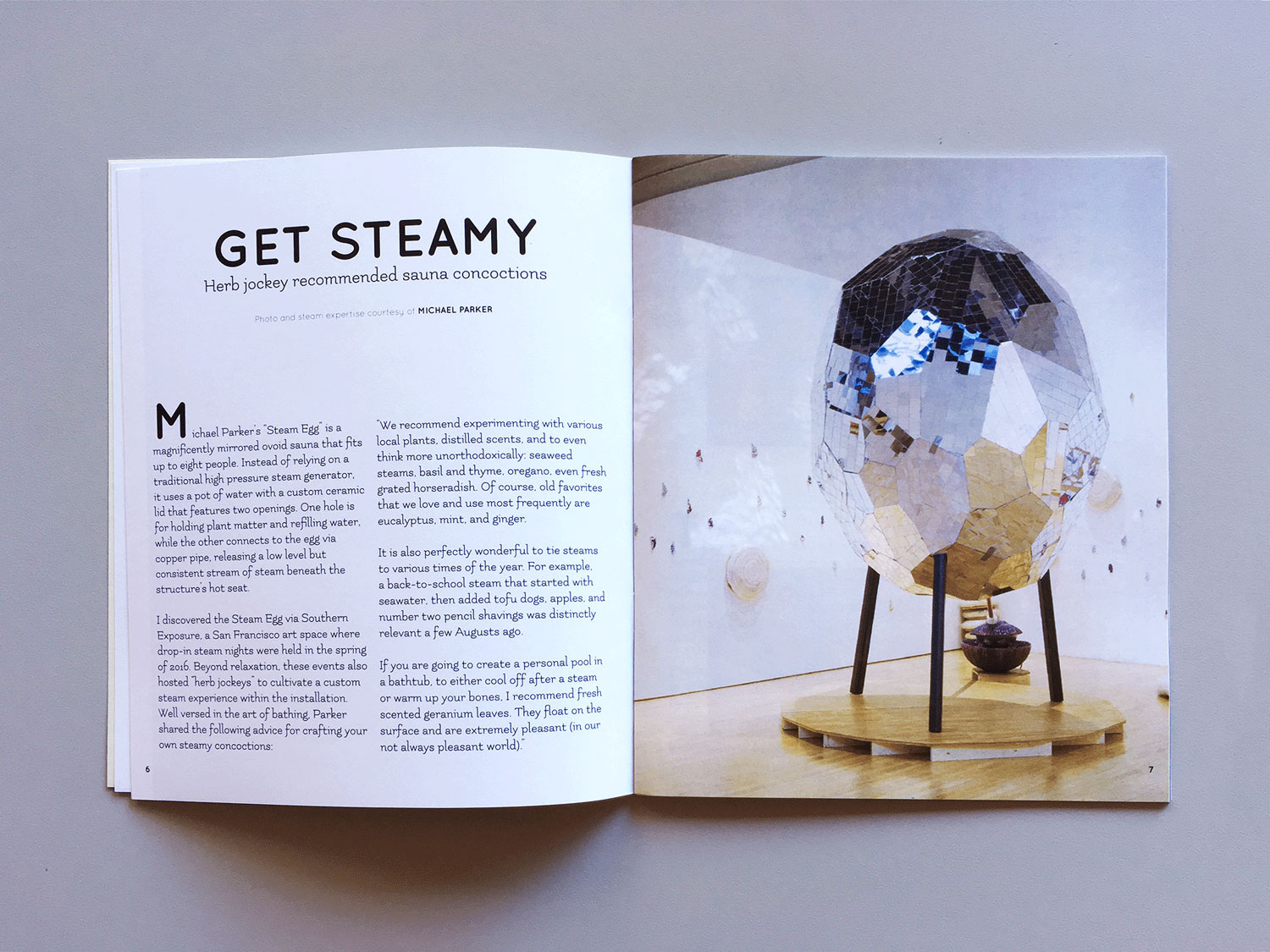 Image link to SPLASH zine. Interior spread of a section called GET STEAMY: herb jockey recommended sauna concoctions. On the right side is a mirrored, egg-shaped sauna