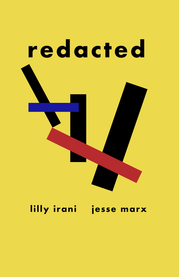 The cover of redacted is bright yellow, with heavy black blocks criss-crossed by red and blue text.